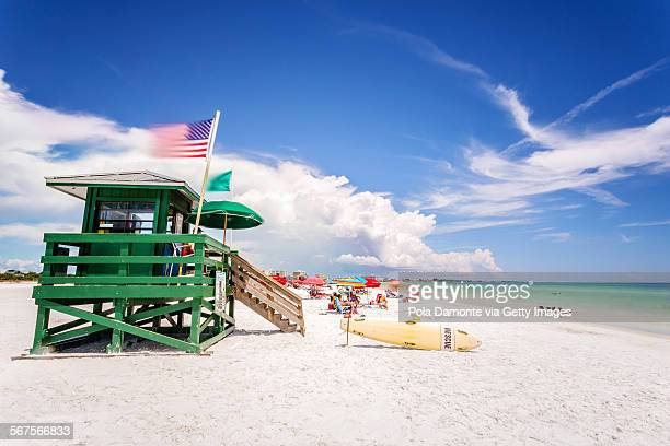 coast guard beach house and beach, siesta key - siesta key stock pictures, royalty-free photos & images