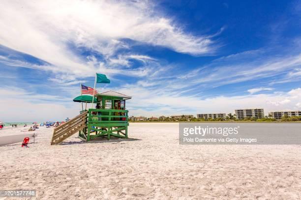 coast guard beach house and beach, siesta key, sarasota, florida, usa - siesta key stock pictures, royalty-free photos & images