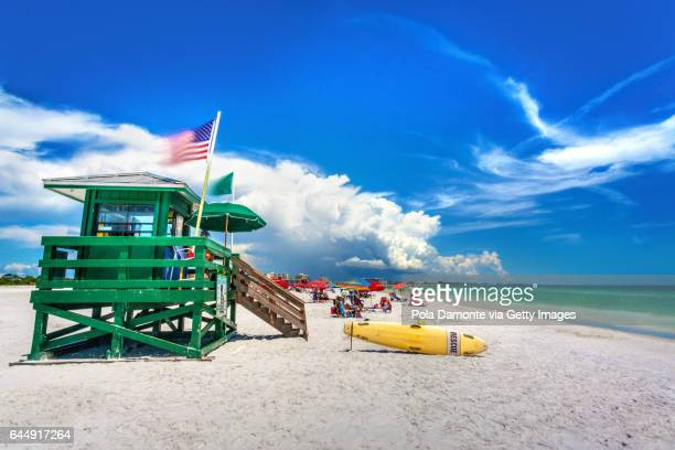 coast guard beach house and beach, siesta key, sarasota, florida, usa - siesta key stock pictures, royalty-free photos & images