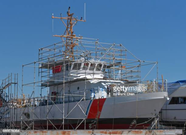 US Coast Guard Boat in Shipyard for Maintenance