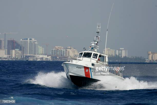 S Coast Guard boat participates in the Homeland Security Task Force Southeast mass migration drill March 8 2007 off the shore of Miami Florida...
