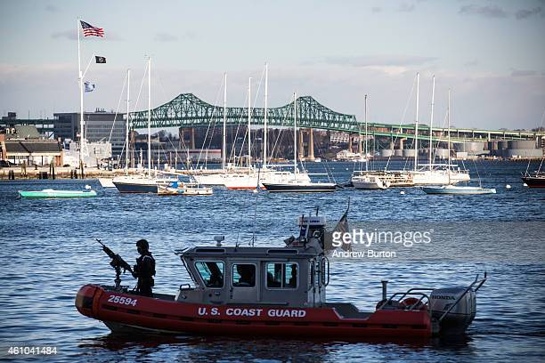 S Coast Guard boat patrols the waters near John Joseph Moakley United States Courthouse where jury selection is beginning today in the case against...
