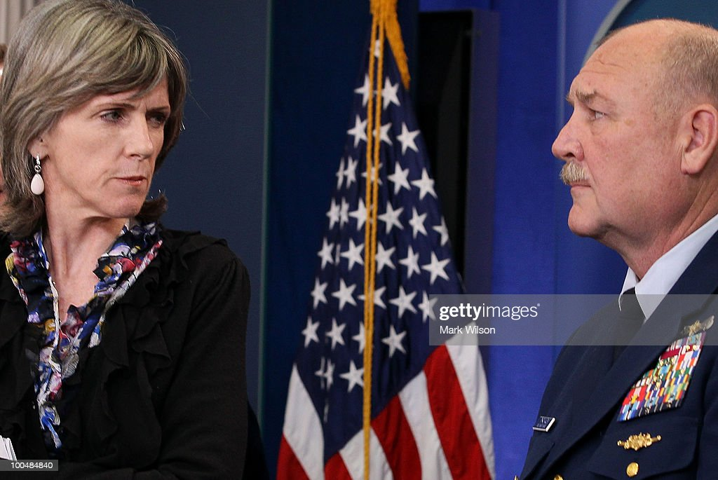 US Coast Guard Commandant Thad Allen (R) and White House energy czar Carol Browner field questions on the BP oil leak during a briefing at the White House on May 24, 2010 in Washington, DC. Commandant Allen and Secretary Gibbs briefed reporters on the current situation with the BP oil leak in the Gulf of Mexico caused the explosion and destruction of the oil rig Deepwater Horizon.