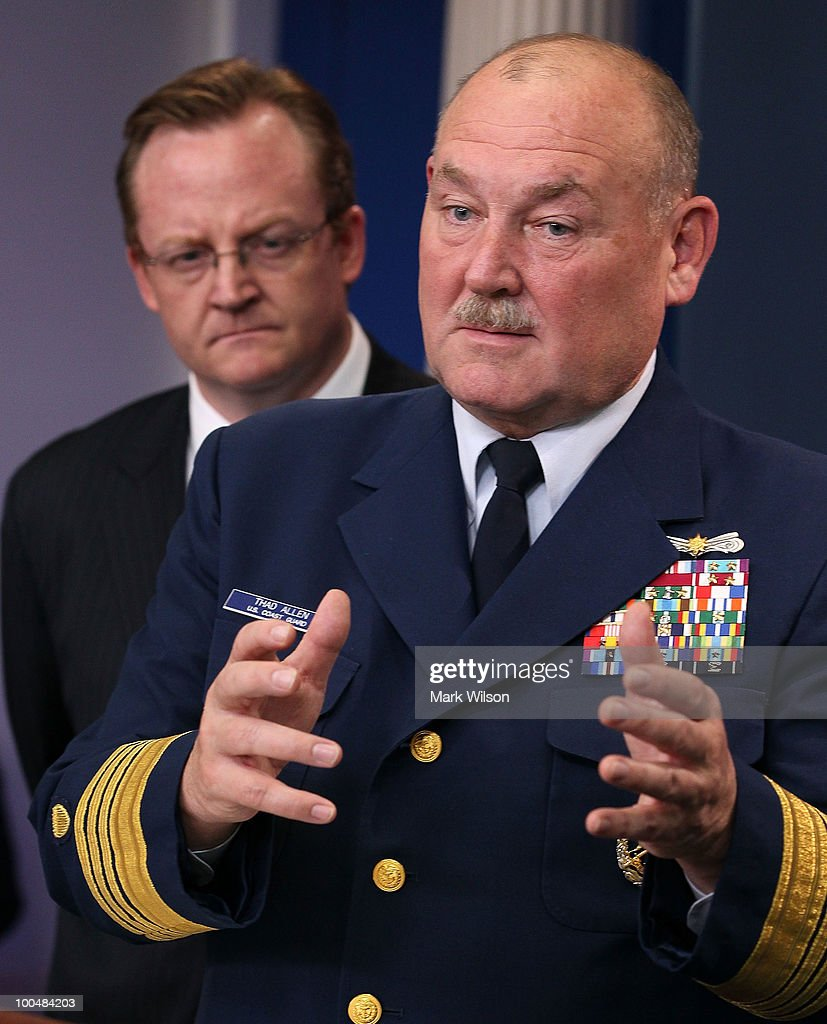 US Coast Guard Commandant Thad Allen (R), joined by Press Secretary Robert Gibbs, speaks in the White House briefing room on May 24, 2010 in Washington, DC. Commandant Allen and Secretary Gibbs briefed reporters on the current situation with the BP oil leak in the Gulf of Mexico caused the explosion and destruction of the oil rig Deepwater Horizon.
