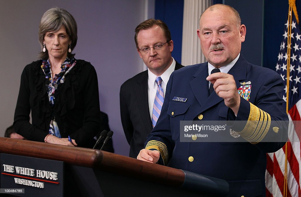 US Coast Guard Commandant Thad Allen (R), speaks while joined by Press Secretary Robert Gibbs (C) and White House energy czar Carol Browner (L), during a briefing at the White House on May 24, 2010 in Washington, DC. Commandant Allen and Secretary Gibbs briefed reporters on the current situation with the BP oil leak in the Gulf of Mexico caused the explosion and destruction of the oil rig Deepwater Horizon.