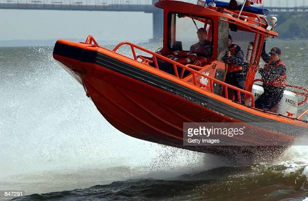 Coast Guard crew from Station New York patrols the New York Harbor providing homeland security, June 21, 2002.