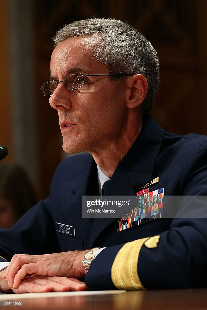 Coast Guard Deputy National Incident Commander Rear Adm. Peter Neffenger testifies during a hearing of the Senate Homeland Security and Governmental Affairs Committee May 17, 2010 in Washington, DC. BP America Chairman and President Lamar McKay, Homeland Security Secretary Janet Napolitano and Coast Guard Deputy National Incident Commander Rear Adm. Peter Neffenger testified on the topic of 'Gulf Coast Catastrophe: Assessing the Nation's Response to the Deepwater Horizon Oil Spill.'