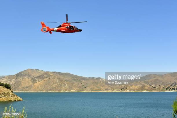 S Coast Guard helicopter flies over Lake Piru where actress Naya Rivera was reported missing Wednesday on July 9 2020 in Piru California Rivera known...