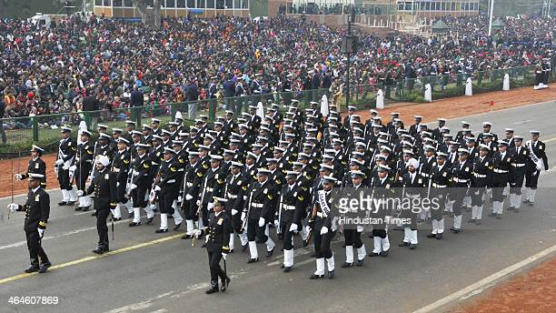 Coast Guard jawans passing through the saluting base during the full dress rehearsal for Republic Day Parade at Rajpath on January 23 2014 in New...
