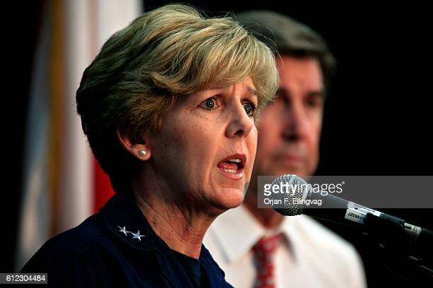 US Coast Guard Rear Adm Mary Landry and Alabama Governor Robert Riley at a press briefing about the ongoing Deepwater Horizon oil disaster