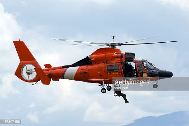 coast guard rescue helicopter - medevac stock photos and pictures