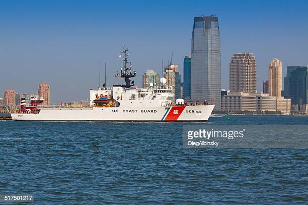 us coast guard ship sailing in new york bay. - coast guard stock pictures, royalty-free photos & images