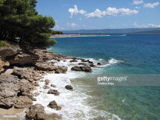 Coast near Zlatni Rat , Brac Island, Dalmatia, Croatia.