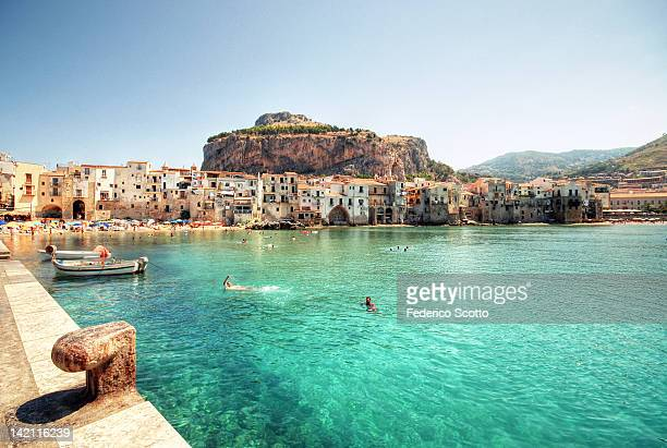 coast of cefalu - italy stock-fotos und bilder