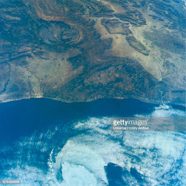 Coast of Morocco Africa Showing Small offshore Cyclone Taken from Gemini V Spacecraft August 26 1965