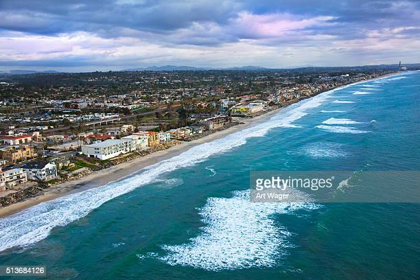 coast of oceanside and carlsbad california from above - carlsbad california stock pictures, royalty-free photos & images