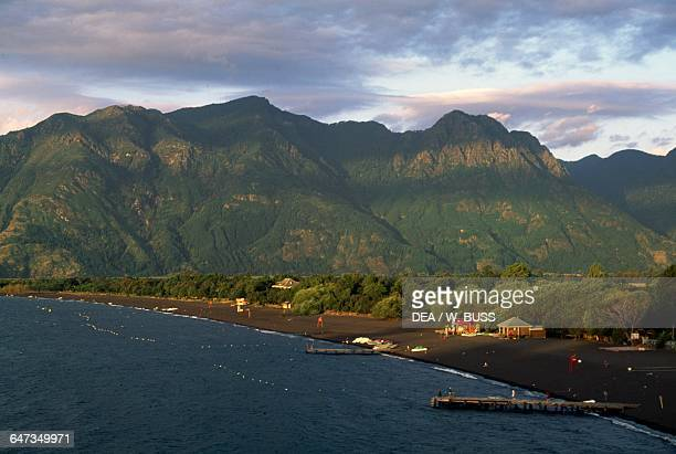 Coast of Villarrica lake near Pucon Villarrica National Park Araucania Chile