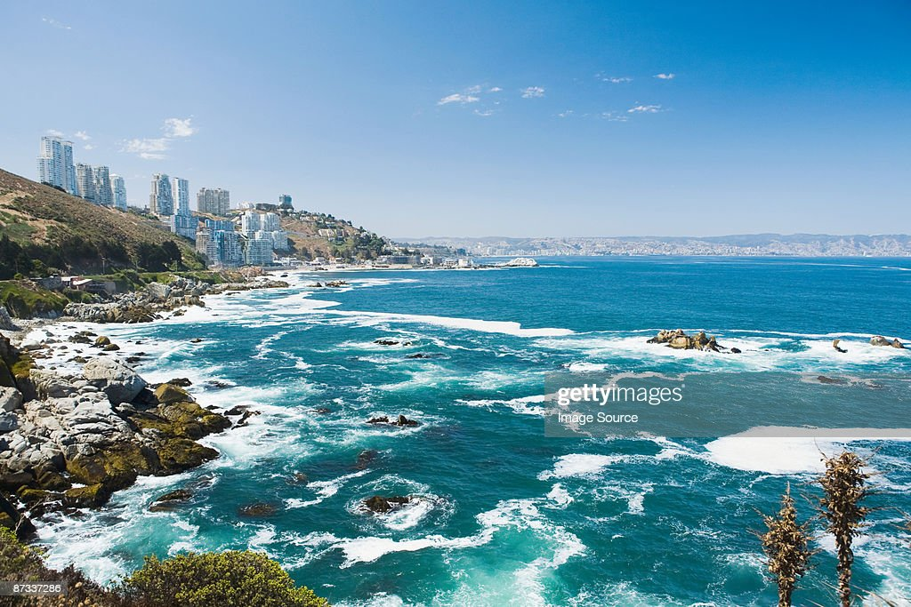 coast of vina del mar in chile stock photo getty images. Black Bedroom Furniture Sets. Home Design Ideas