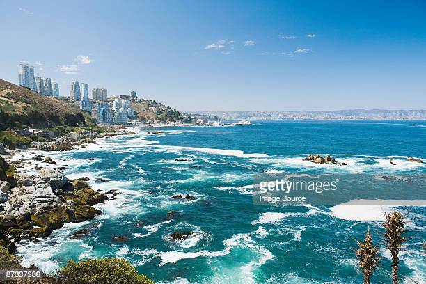 coast of vina del mar in chile - vina del mar stock pictures, royalty-free photos & images
