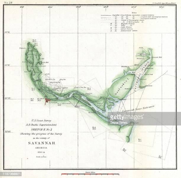 Coast Survey Chart or Map of the Savannah River ans Savannah, Georgia