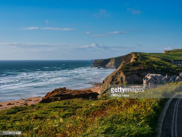 coast with cliffs at bedruthan steps - beach stock pictures, royalty-free photos & images