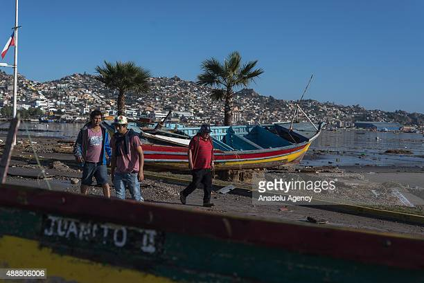 A coastal area ravaged by the sea in Coquimbo some 445 km north of Santiago on September 17 2015 in Chile On the evening of September 16th a...