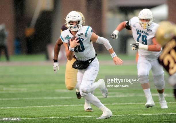 Coastal Carolina Chanticleers QB Grayson McCall runs for yardage during game featuring the Texas State Bobcats and the Coastal Carolina Chanticleers...