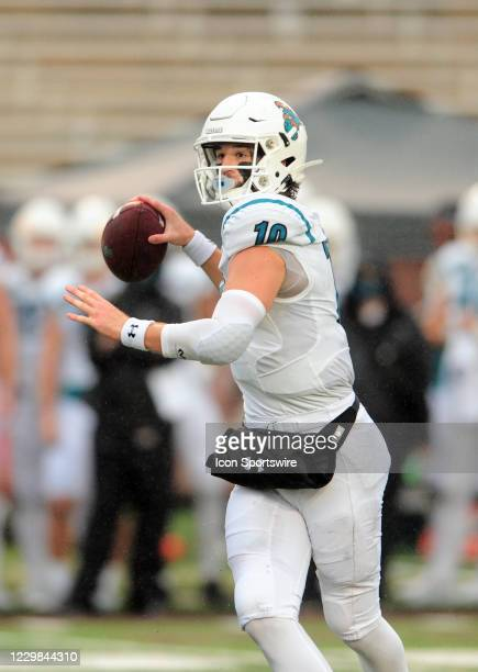 Coastal Carolina Chanticleers QB Grayson McCall throws a pass during game featuring the Texas State Bobcats and the Coastal Carolina Chanticleers on...