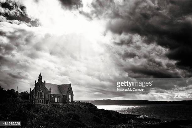 Coastal Church under dramatic sky black and white
