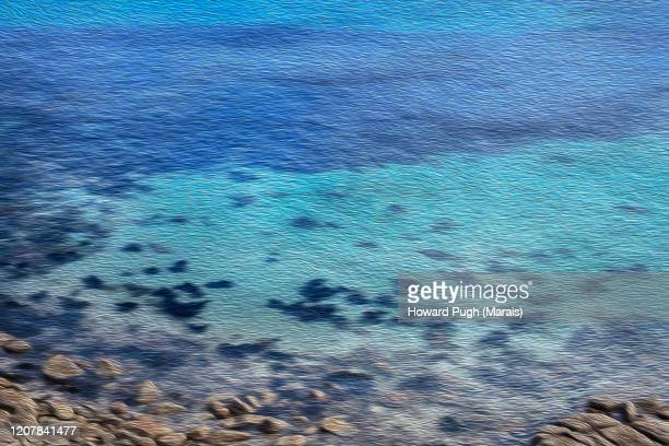 coastal cornwall ocean oil paint effect - howard pugh stock pictures, royalty-free photos & images