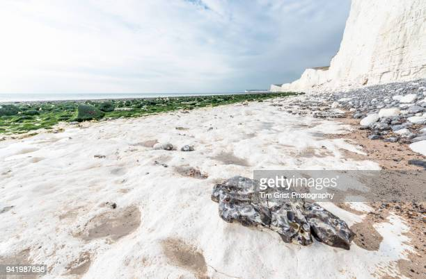coastal erosion at the seven sisters cliffs - chert stock photos and pictures