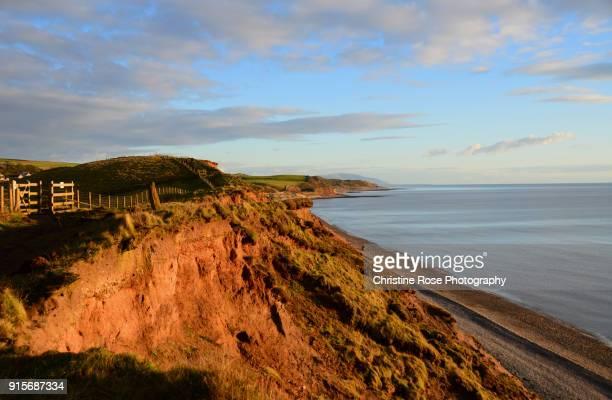 coastal erosion - cumbria stock photos and pictures