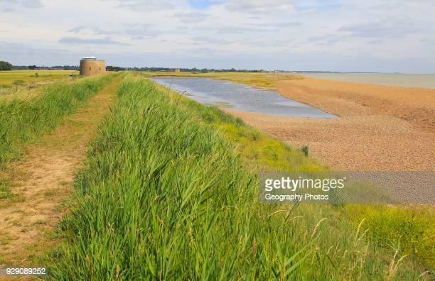 Coastal landforms shingle beach lagoon and bay bar view north to Shingle Street Bawdsey Suffolk England UK