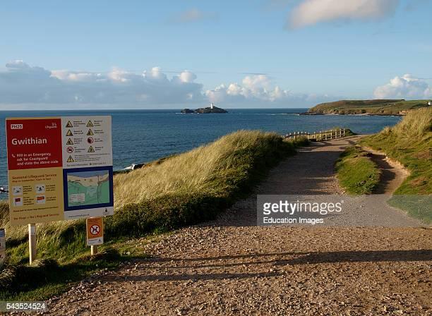Coastal path at Gwithian, Cornwall, UK.