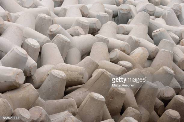 Coastal protection with cement blocks (Tetrapods) full frame.