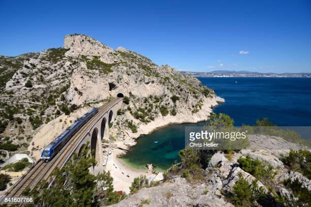 coastal railway along mediterranean coast between marseille & martigues - marseille stock pictures, royalty-free photos & images