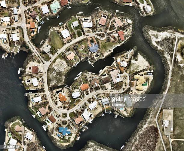 Coastal residential areas affected by the hurricane, Florida, USA