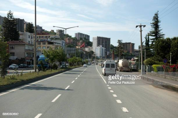 coastal road at akçaabat, trabzon province in the black sea region of turkey - trabzon stock photos and pictures