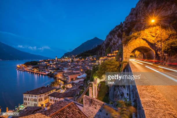 coastal road at limone sul garda - lombardy stock pictures, royalty-free photos & images