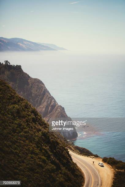 coastal road, high angle view - big sur stock photos and pictures