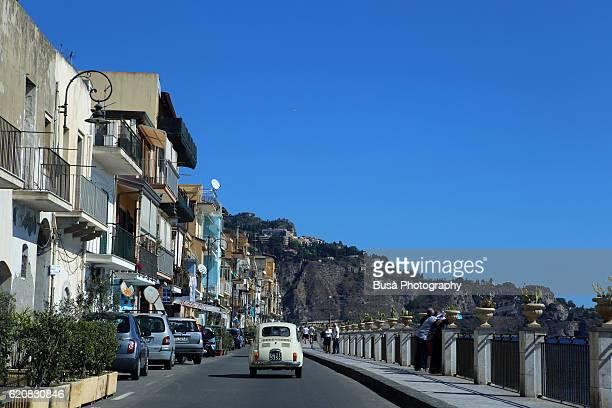 Coastal road in Giardini Naxos, near Taormina, Sicily, Italy