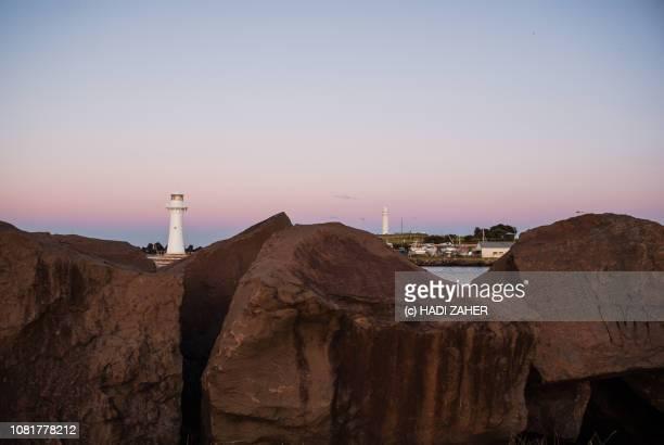 Coastal rock pieces at Wollongong Harbour at dusk | New South Wales | Australia