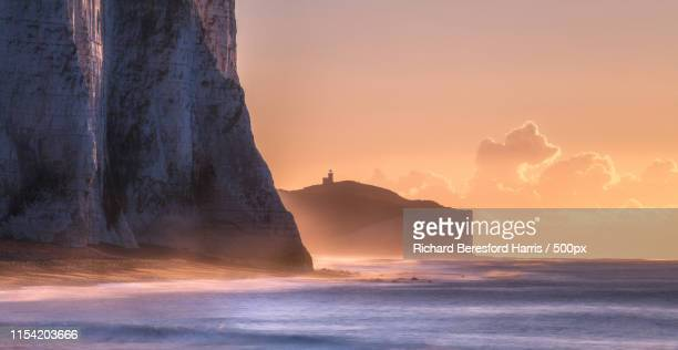 coastal scene - belle tout lighthouse stock photos and pictures