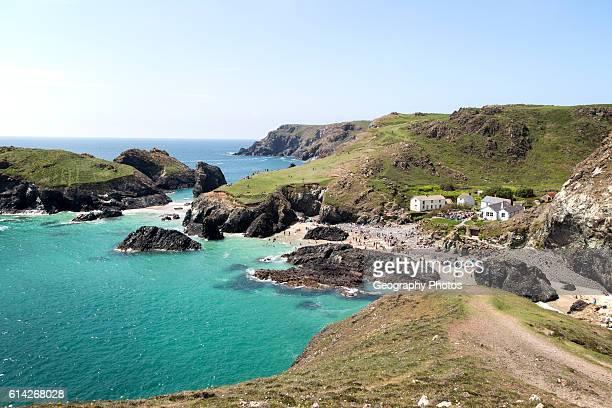 Coastal scenery Kynance Cove Lizard peninsula Cornwall England UK