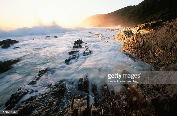 Coastal Scenic with Waves Breaking on the Rocks