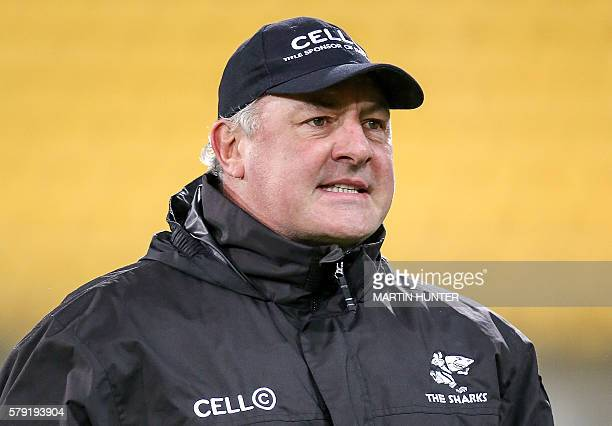 Coastal Sharks head coach Gary Gold looks on before the Super Rugby quarterfinal match between South Africa's Coastal Sharks and New Zealand's...