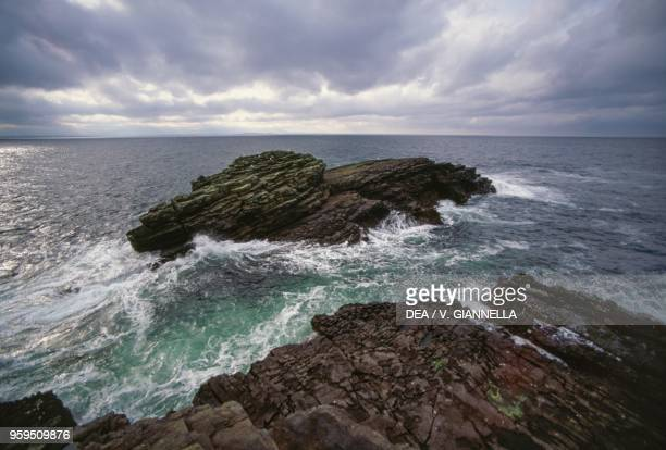 Coastal strip at St John's Point, whipped by the Atlantic Ocean waves, County Donegal, Ireland.