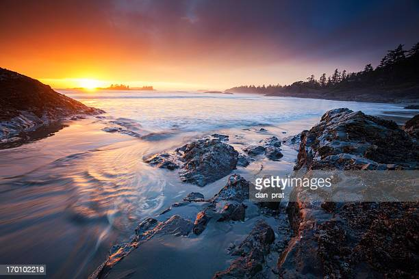 coastal sunset - coastline stock pictures, royalty-free photos & images