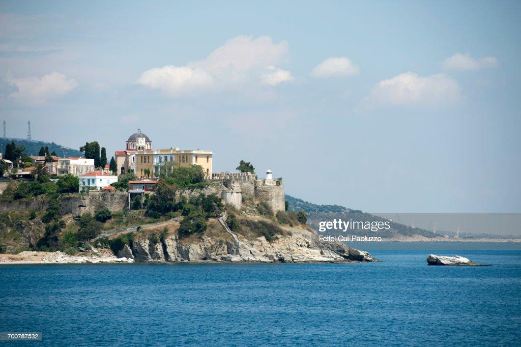 Coastal town Kavala, Thrace Region, eastern Macedonia, Greece : Stock Photo