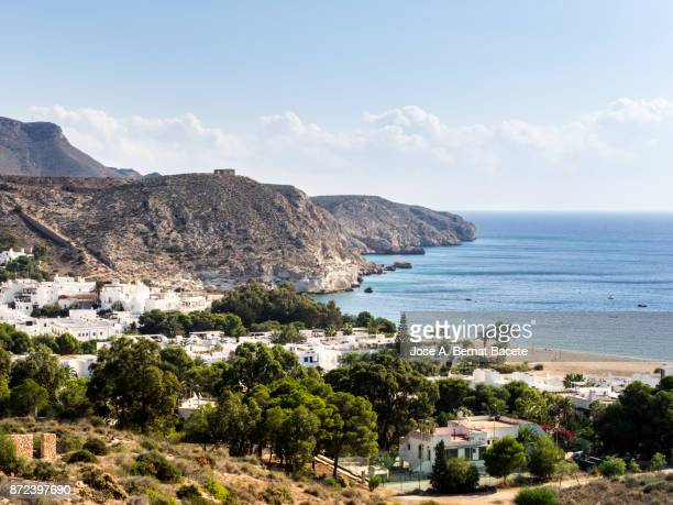 Coastal town  of fishermen and tourism, Agua Amarga, of the natural park of Cabo de Gata - Nijar, in Almeria,  Andalucia, Spain.